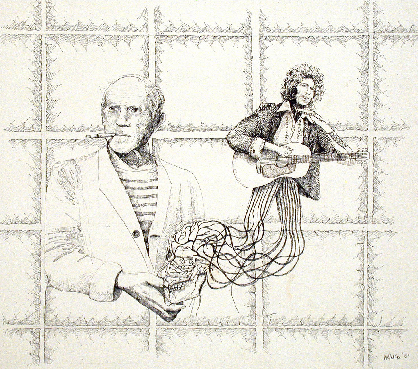 Picasso Channels Dylan  1981  India Ink on Arches paper  30x40 in.