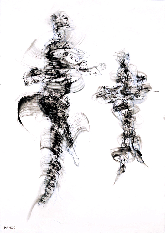 Artist: Rob Mango  Media: Black oil paint on Fabriano, gesso coated, 300lb. rag paper  Size: 105 X 75 cm (29 5/8 X 41 3/8 Inches)  Subject :Sergiy and Oleksandr Kirichenko, Tango Choreography  Date: Painted in New York, October 6 -December 30, 2016