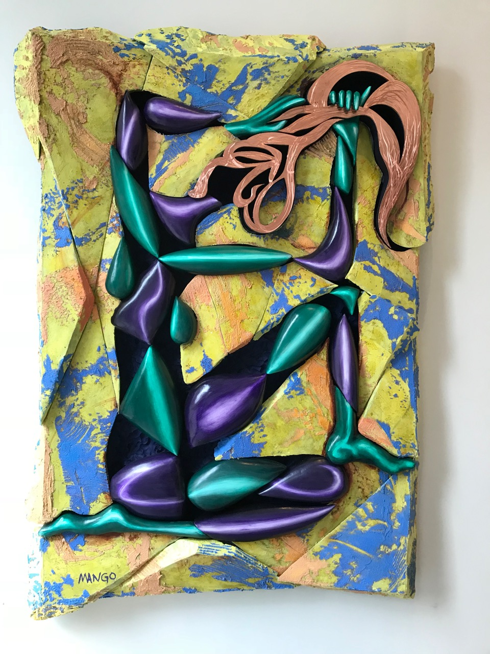 2018   78x56X6 inches  Oil on canvas, over sculpted foam on panel, three dimensional, sculpted female, copper hair  Signed by artist lower left front, signed dated back