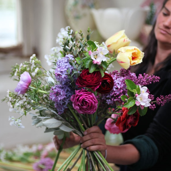 Halifax bouquet subscription / flower CSA 2018. Luxury hand-tied farm fresh flowers including ranunculus, anemone, tulips, apple blossom and lilac. Hedgerow Flower Company, Nova Scotia, Canada.