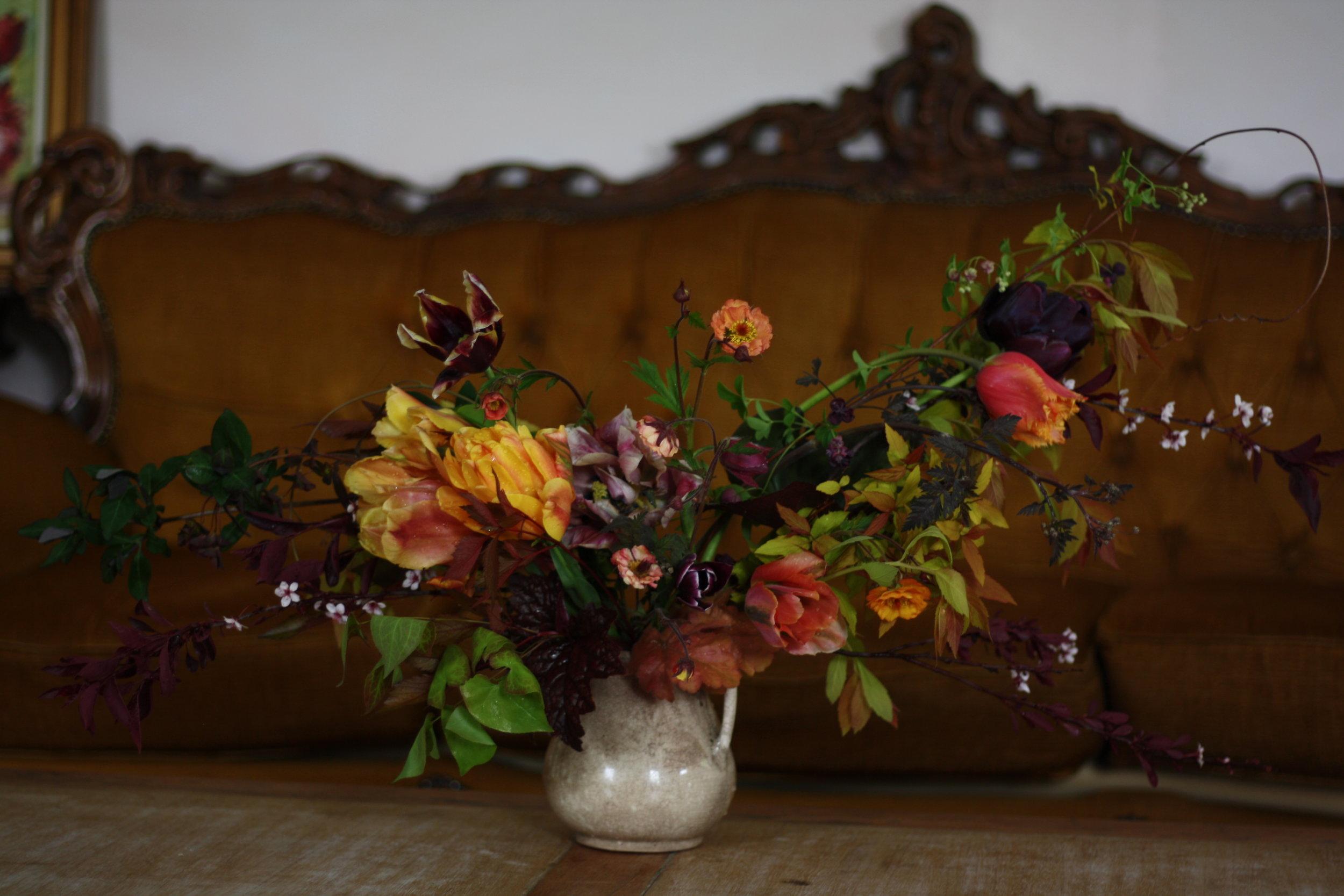 Jewel toned centerpiece by Hedgerow Flower Company. Flower farm and wedding florist, Nova Scotia.