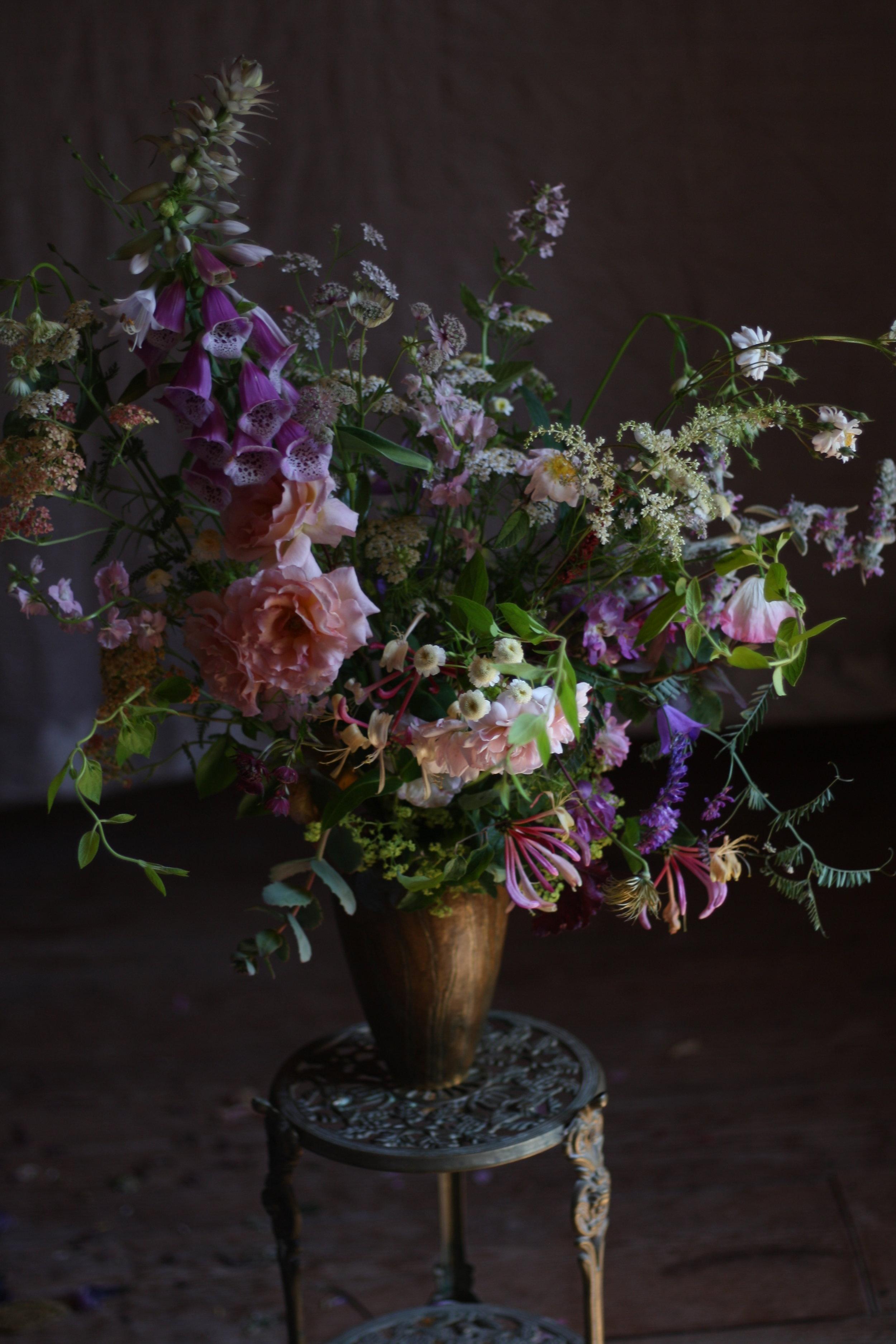 A wild hedgerow floral arrangement, from a Nova Scotian Flower Farm.
