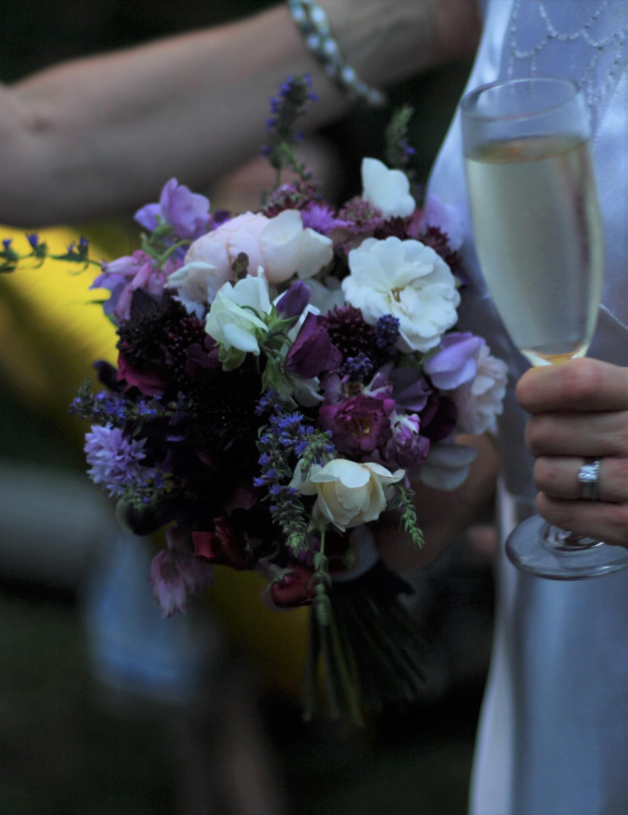 Bridal bouquet for a wedding at Windhorse Farm, Nova Scotia.