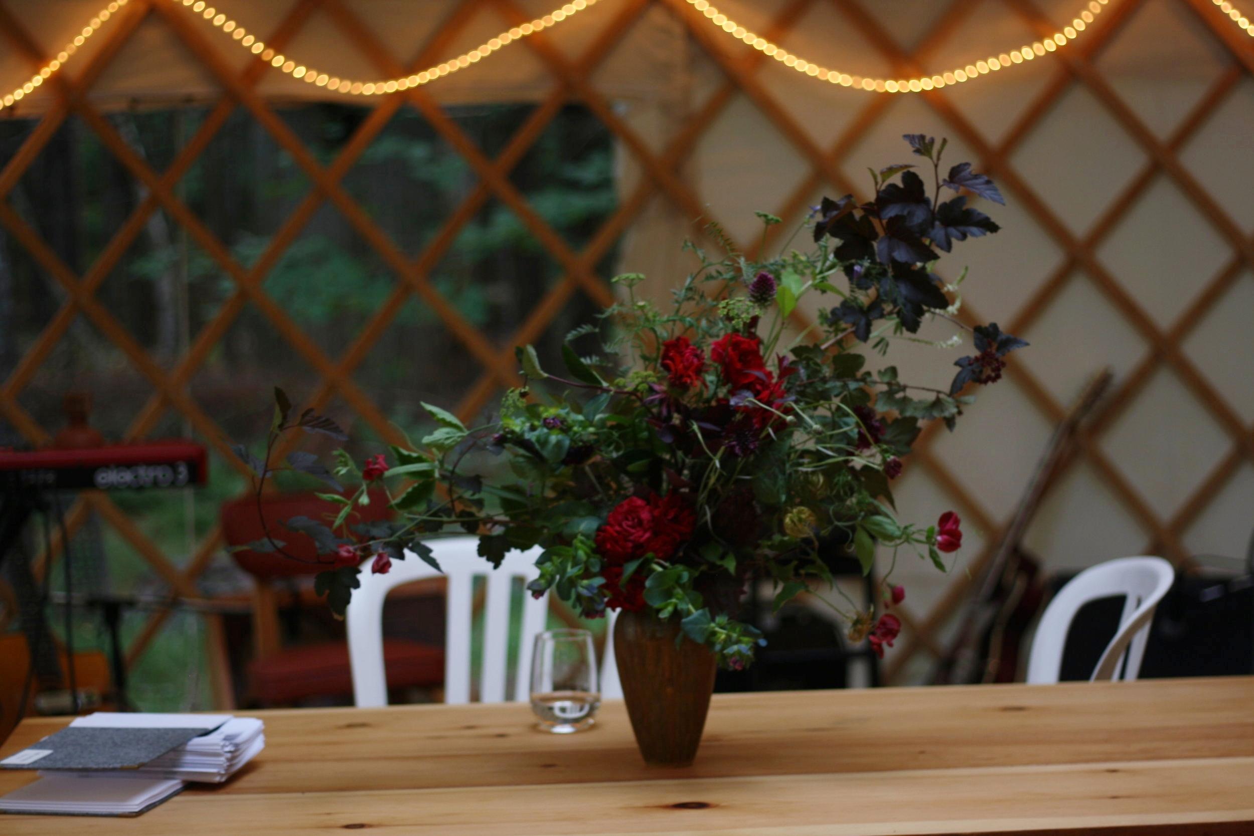 Wedding flowers at Windhorse Farm.Hedgerow Flower Company, Nova Scotia