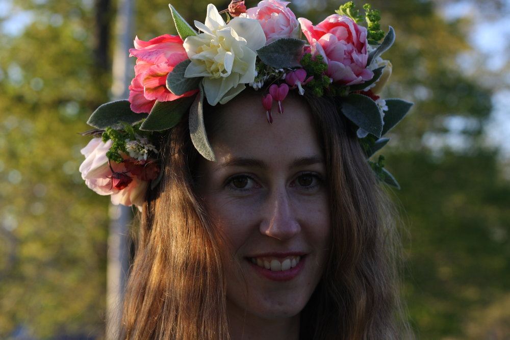 Floral Wedding Crown featuring daffodils, Angelique tulips, 'Fantasy' parrot tulips, 'Finola' tulips, lambs ear, bleeding heart, geum 'Leonards Variety' and alchemilla mollis. Local organically grown flowers and design from Hedgerow Flower Company,. Halifax, Nova Scotia.