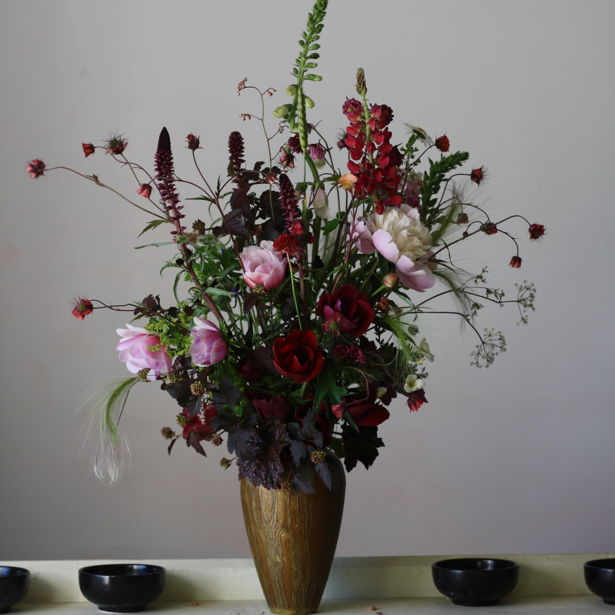 Blush and burgundy, June floral arrangement. Hedgerow Flowers, NS.