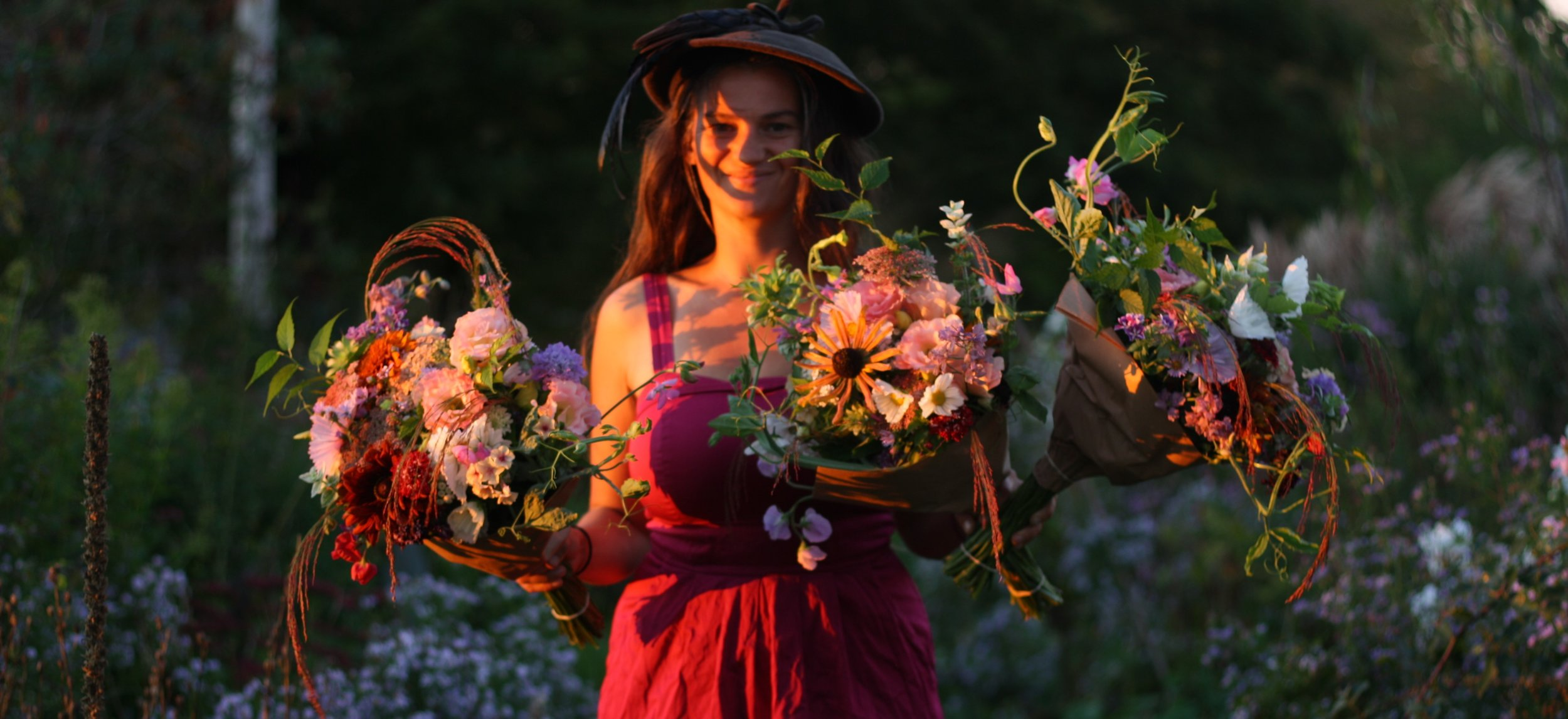 Eileen with September Flower CSA bouquets.