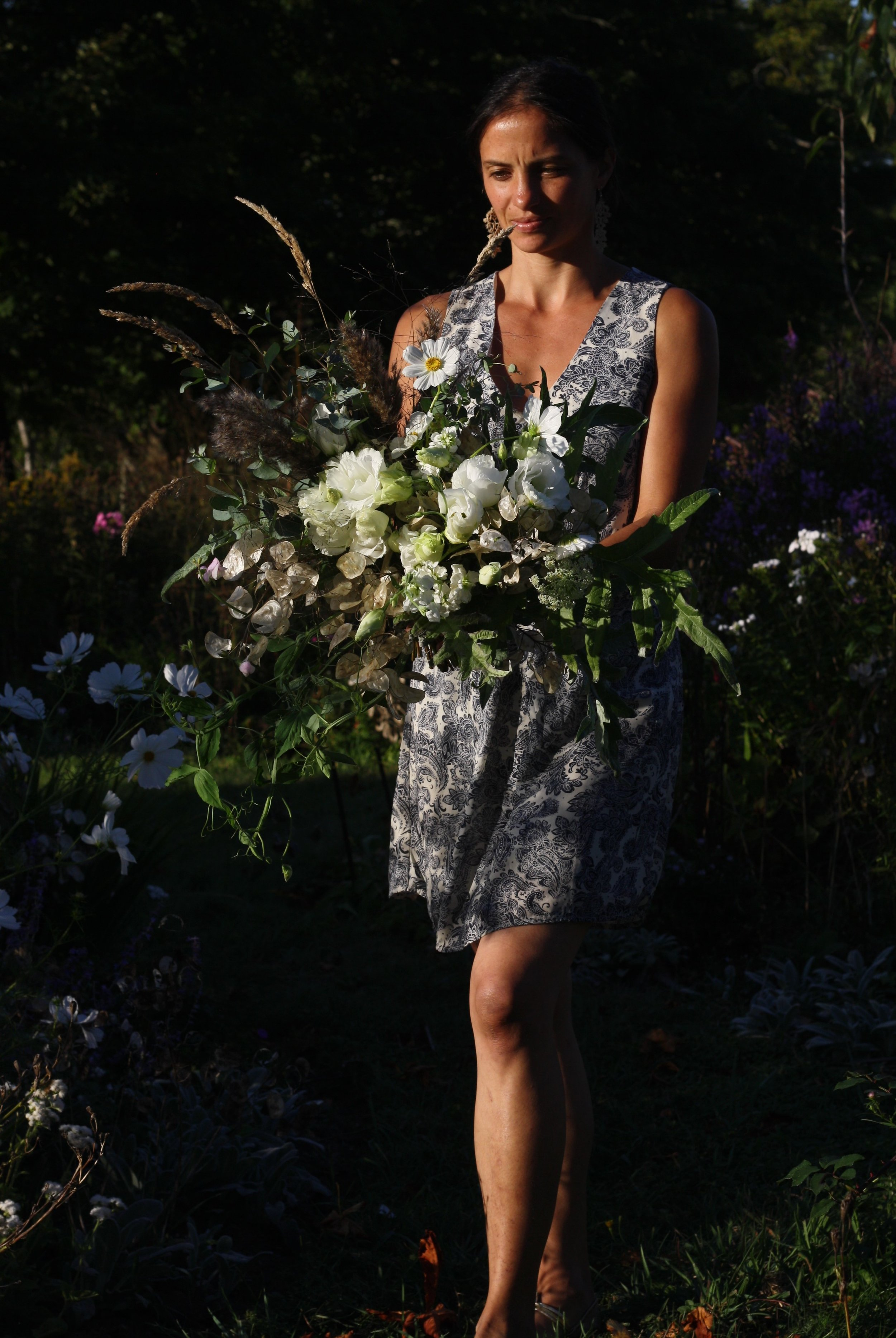 White wedding bouquet. Organically grown flowers in Nova Scotia. Hatfield Farm