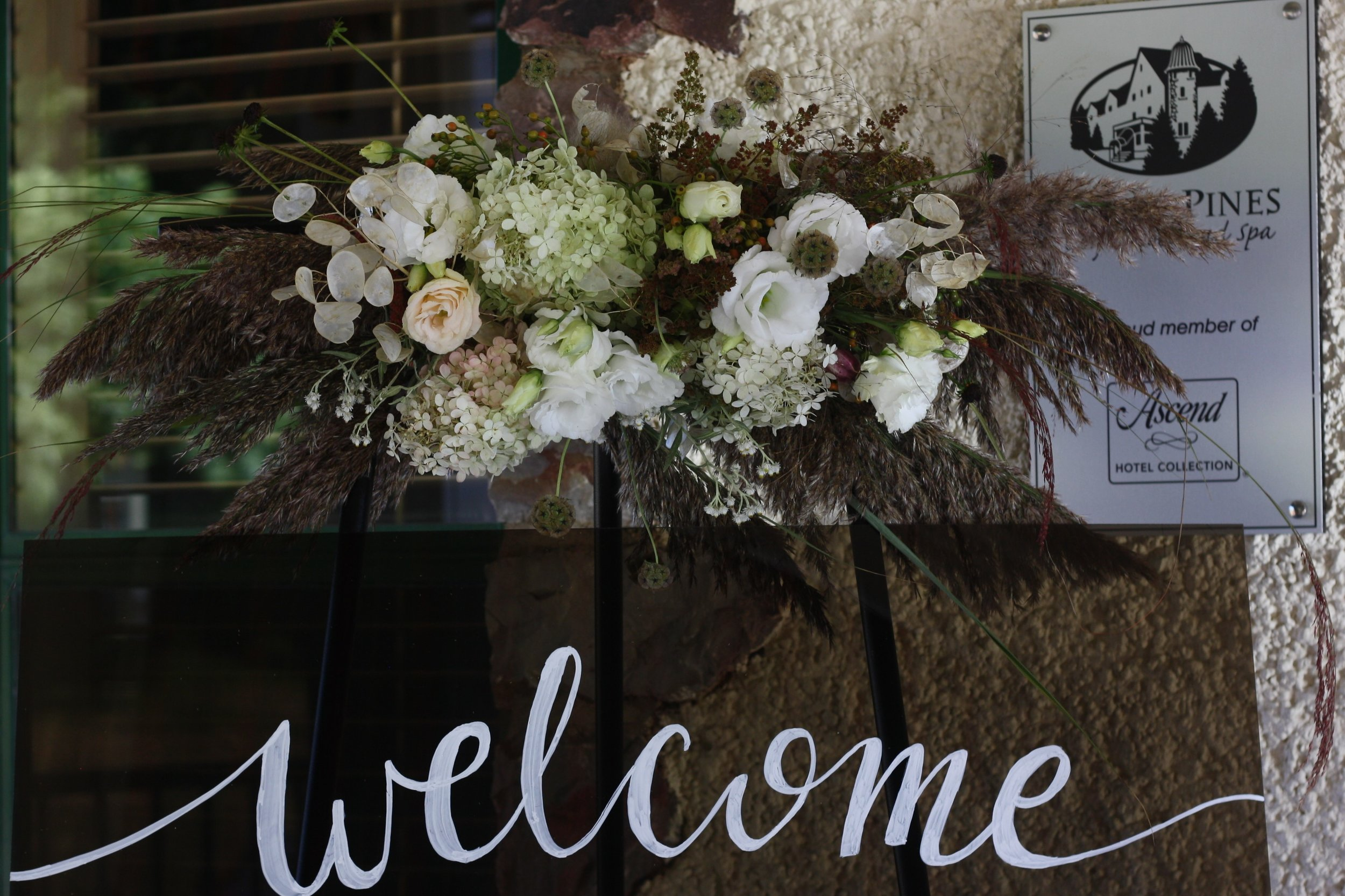 Wedding welcome sign at Digby Pines. 100% locally grown flowers.