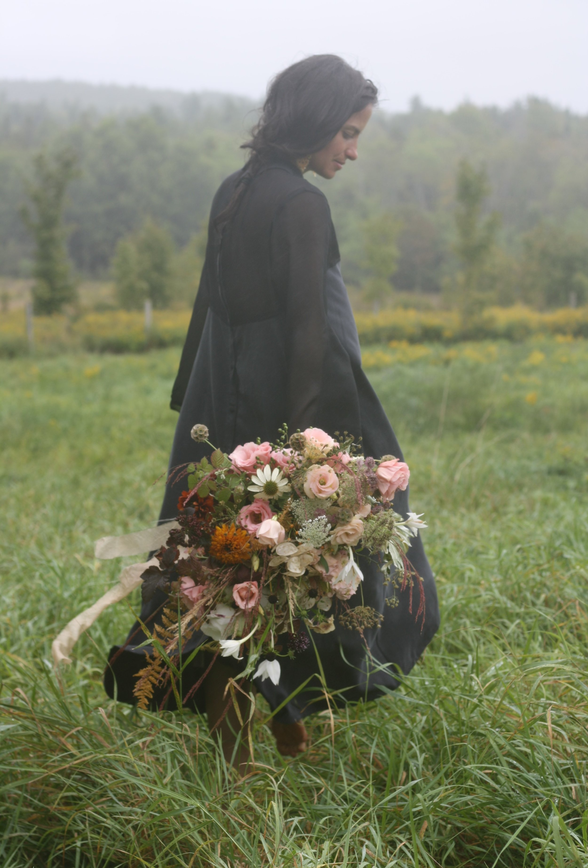 Wuthering Heights wedding inspiration in misty Nova Scotia. September Bridal shoot. Dress by Maggie Jayne.