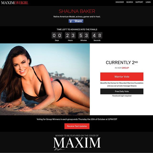 In less than 24-hours you can be a part of history by voting for my multi-talented friend @shaunabaker to be the 1st #nativeamerican on the cover of @maximmag !!! *linkinbio to vote 👆🏼 #maximmag #maximcovergirl #shaunabaker #nativemodel #nativeactress #ftw 🙏🏻