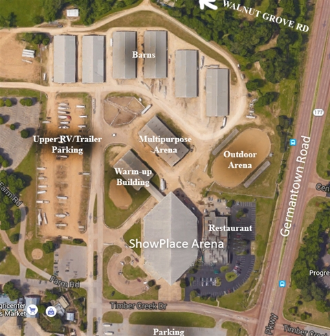Map of Agricenter's ShowPlace.  105 S Germantown Pkwy, Cordova, TN 38018