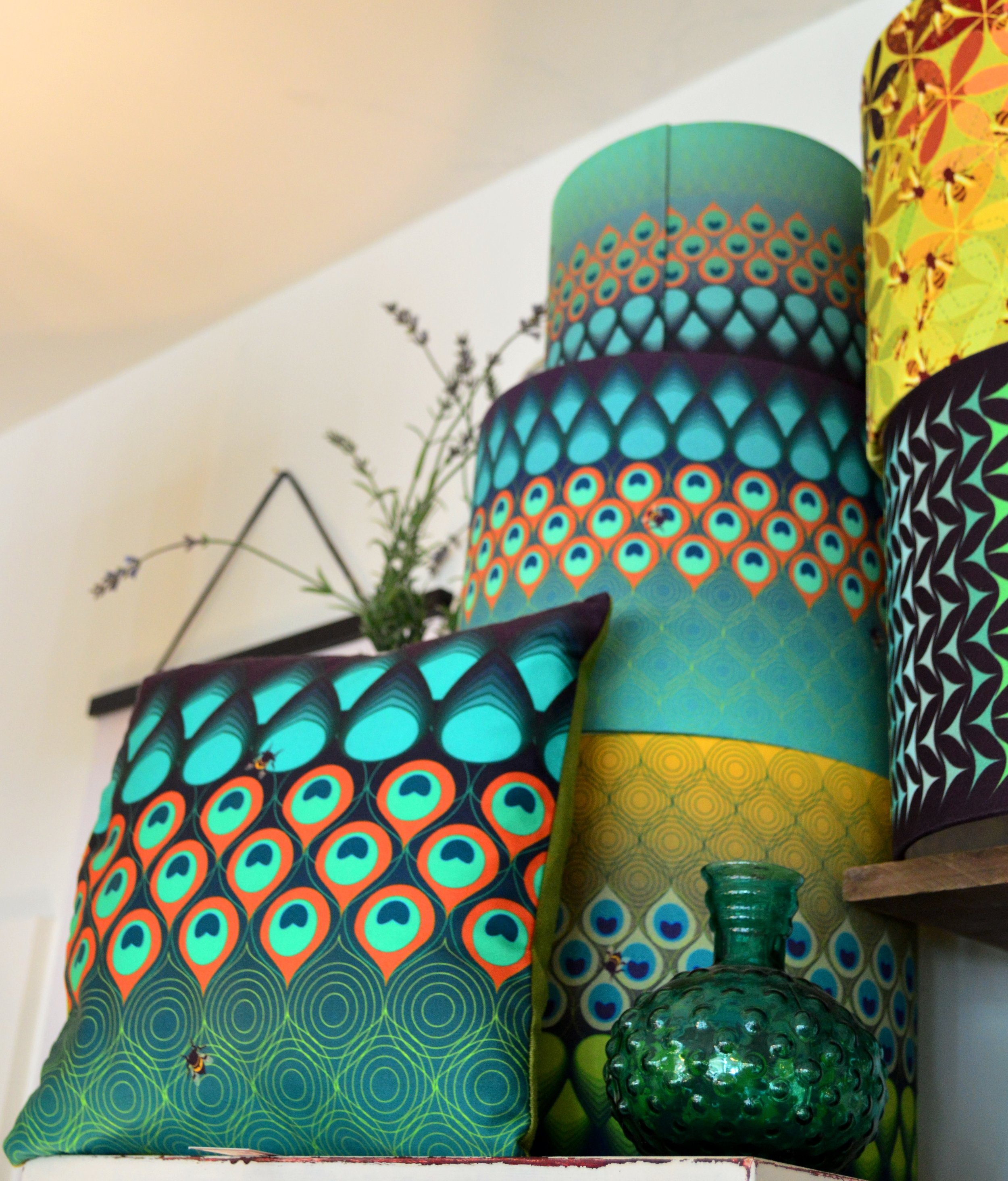 Katie Wallis Print cushions (from £45.00) and lampshades (starting from £45.00)