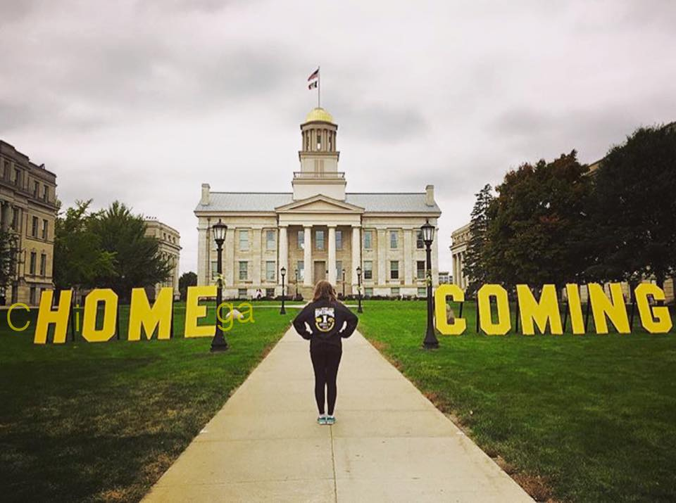 Rachel Johnson, Spirit Director for UI Homecoming Executive Council, who along with her Dad, created, painted, and installed these fabulous letter on campus during Homecoming Week! They brought a smile to Hawkeye students and alumni, and thousands of photos were taken next to them :)