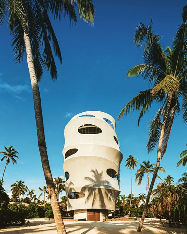 "This restaurant in the Maldives shows how a translucent building skin offers some incredibly unique advantages. The tower seems perfectly suited to the tropical environment while offering a truly first-class dining experience to its clientele. It features the highest panoramic view on the island, virtually uninterrupted, and it is both open and protected, embracing the richness of the surroundings while offering protection from wind.  Architects: ADR  Photographs: © Archive ADR  Souce: ""Tavaru Restaurant & Bar / ADR"" 30 Nov 2015. ArchDaily. Accessed 2 Dec 2015.   #TensileArchitecture #TensileMembraneArchitecture #TensileMembraneStructure #TensileEngineering #TensileMembrane #TensileFacade #LightweightFacade #MembraneFacade #Performance #Facade #Design #Tensile #Architecture #Engineering #Membrane #Tensile #Tropical #Maldives #Tavaru #NextTopArchitects #ArchDaily"