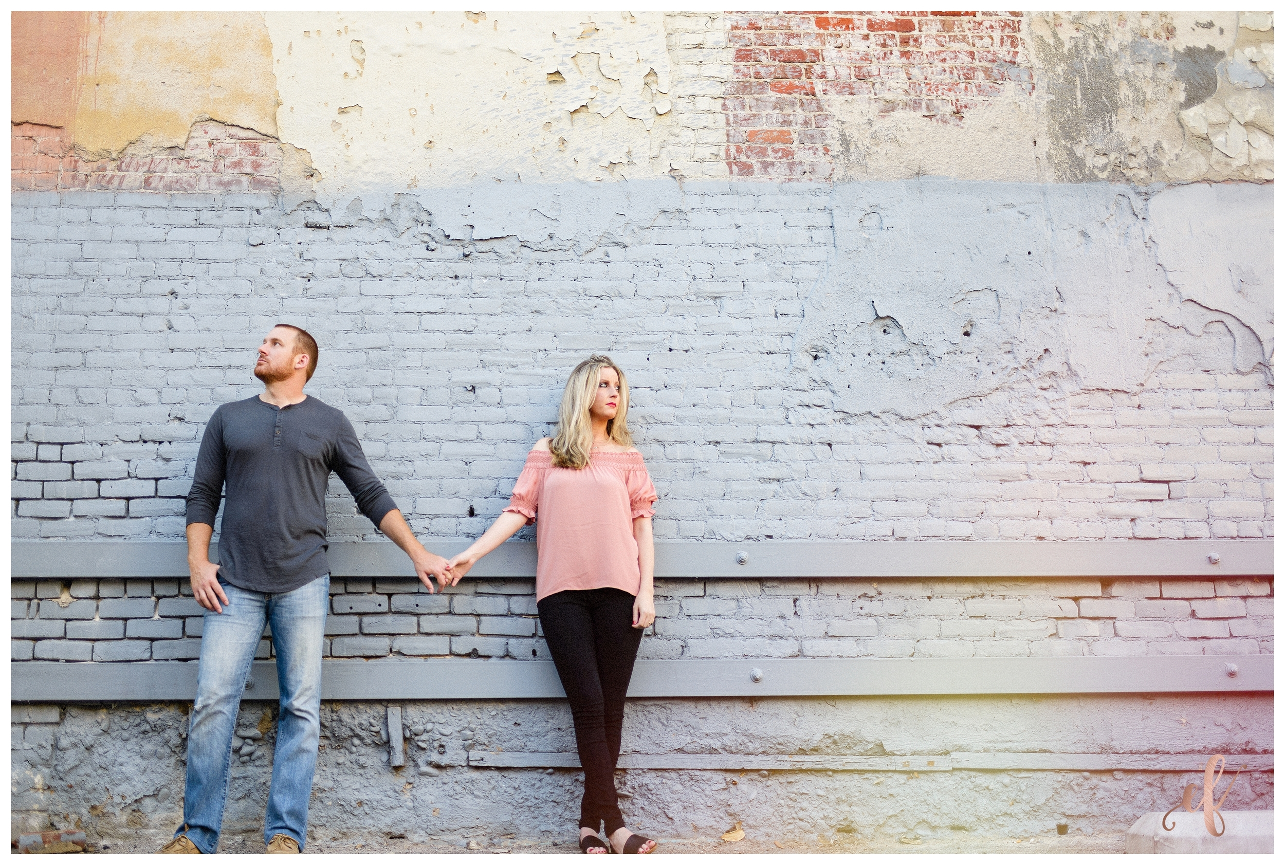 Downtown San Diego Engagement Portraits   Brick Wall