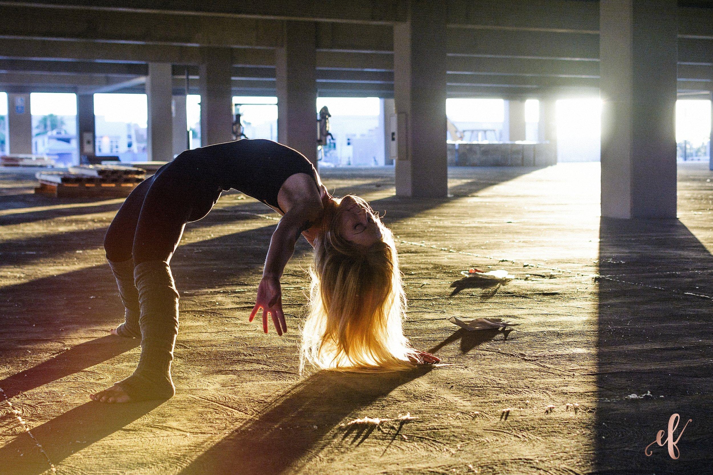 San Diego Portrait Photography   Dance   Yoga   Tulle Skirt   San Marcos   Parking Garage