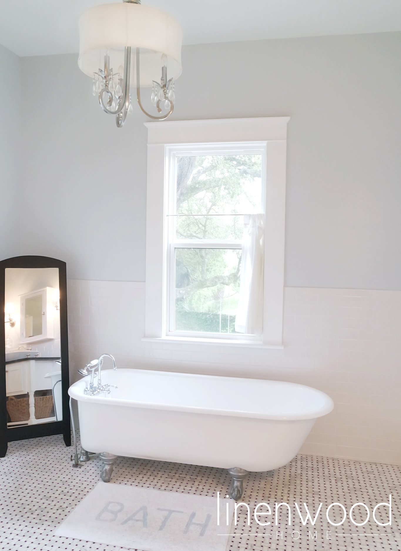 Master bathroom claw foot tub.