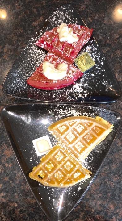 Red Velvet waffles (Top) & sWEET POTATO WAFFLES (BOTTOM)