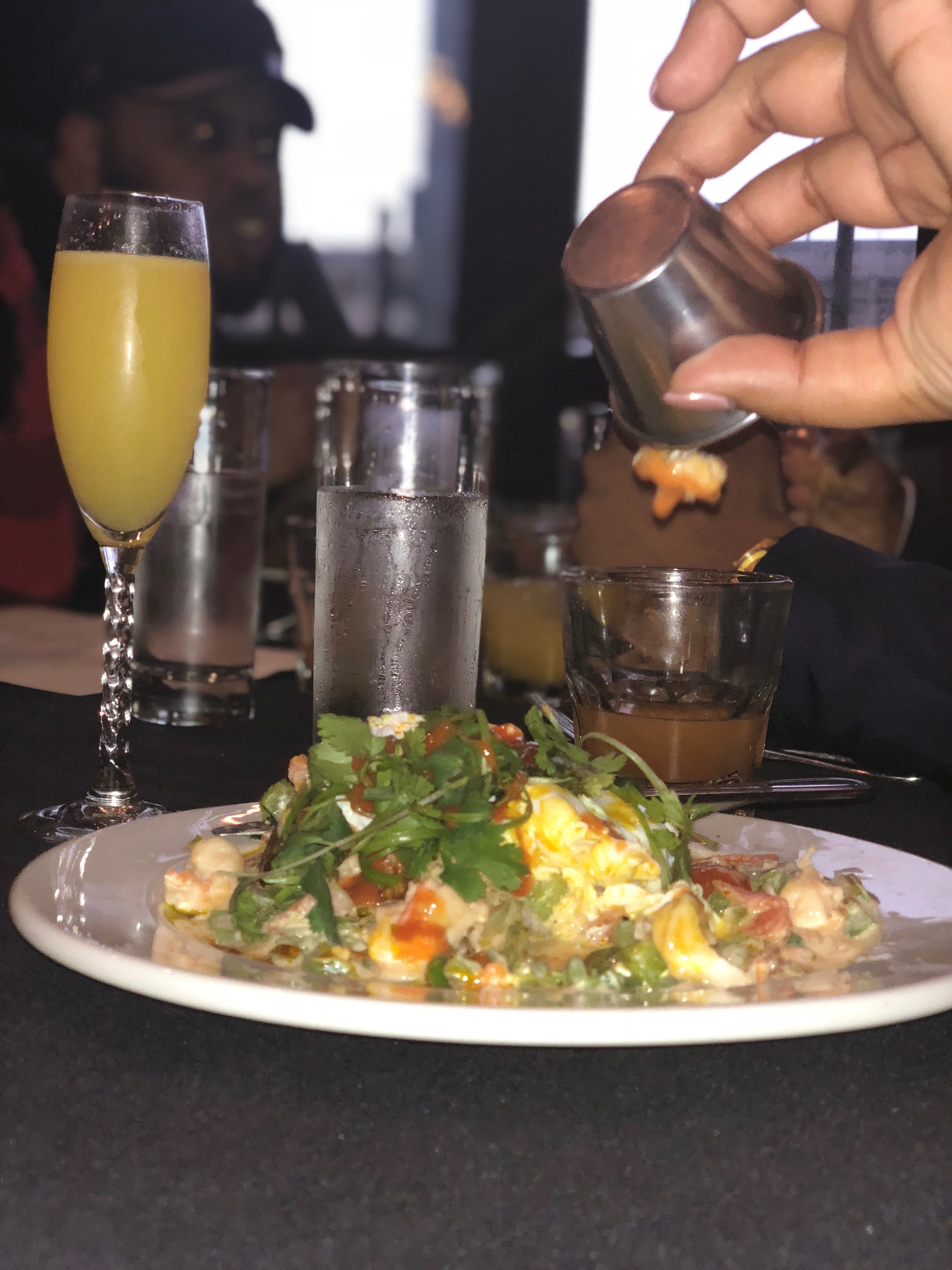 Caribbean Shrimp Toast Rundown - PAched Eggs - Creamed Tomatoes, Peppers & Onions