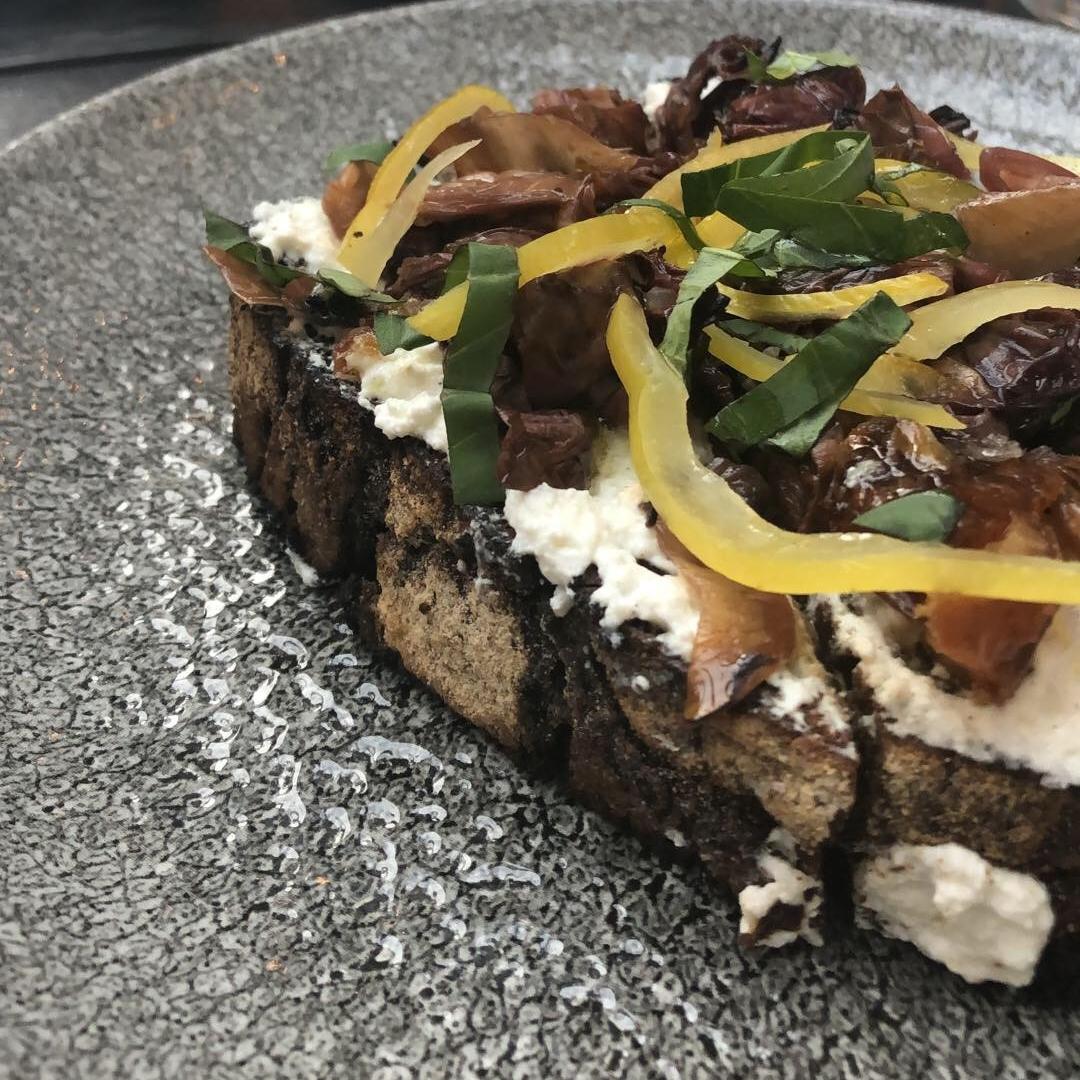 Ricotta Toast with dates, lemon marmalade, charred radicchio, and beet-rye bread  Womp.  1/5 :(