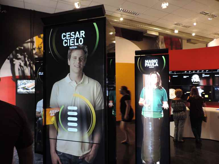 SB-24 SonicBeam directional speakers, seen here mounted above interactive displays, focus audio to individuals in front of the displays.
