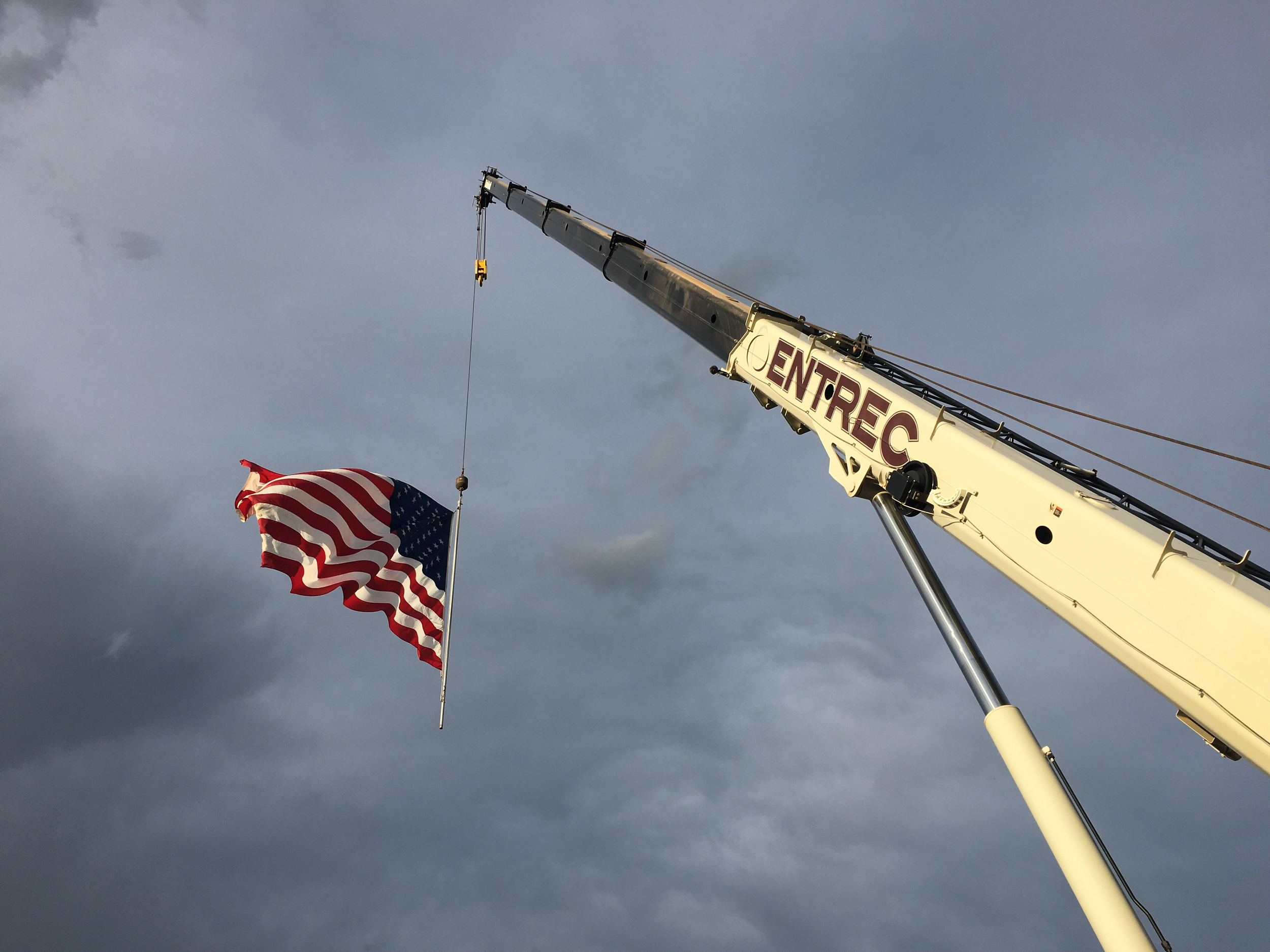I love the flag flying from a crane