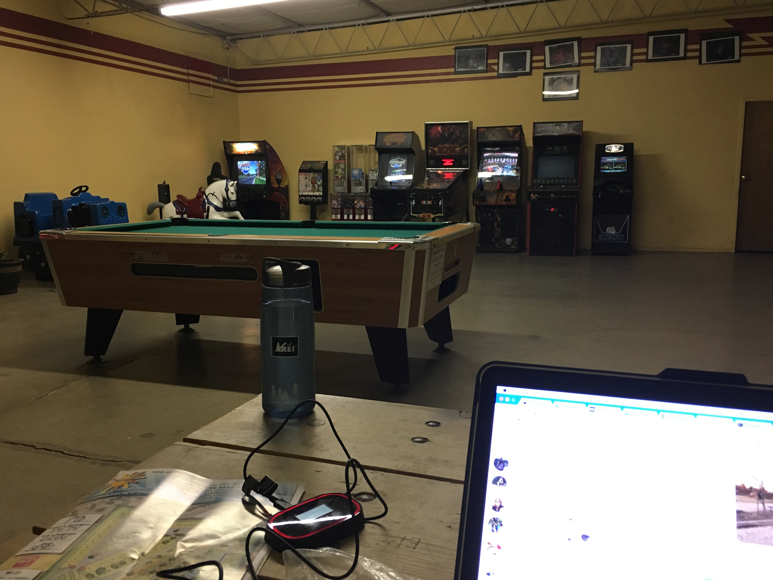 I was grateful the Carlsbad RV Park & Campground had this game room so I could do some e-work. I also played a few pinball games. I'm terrible.