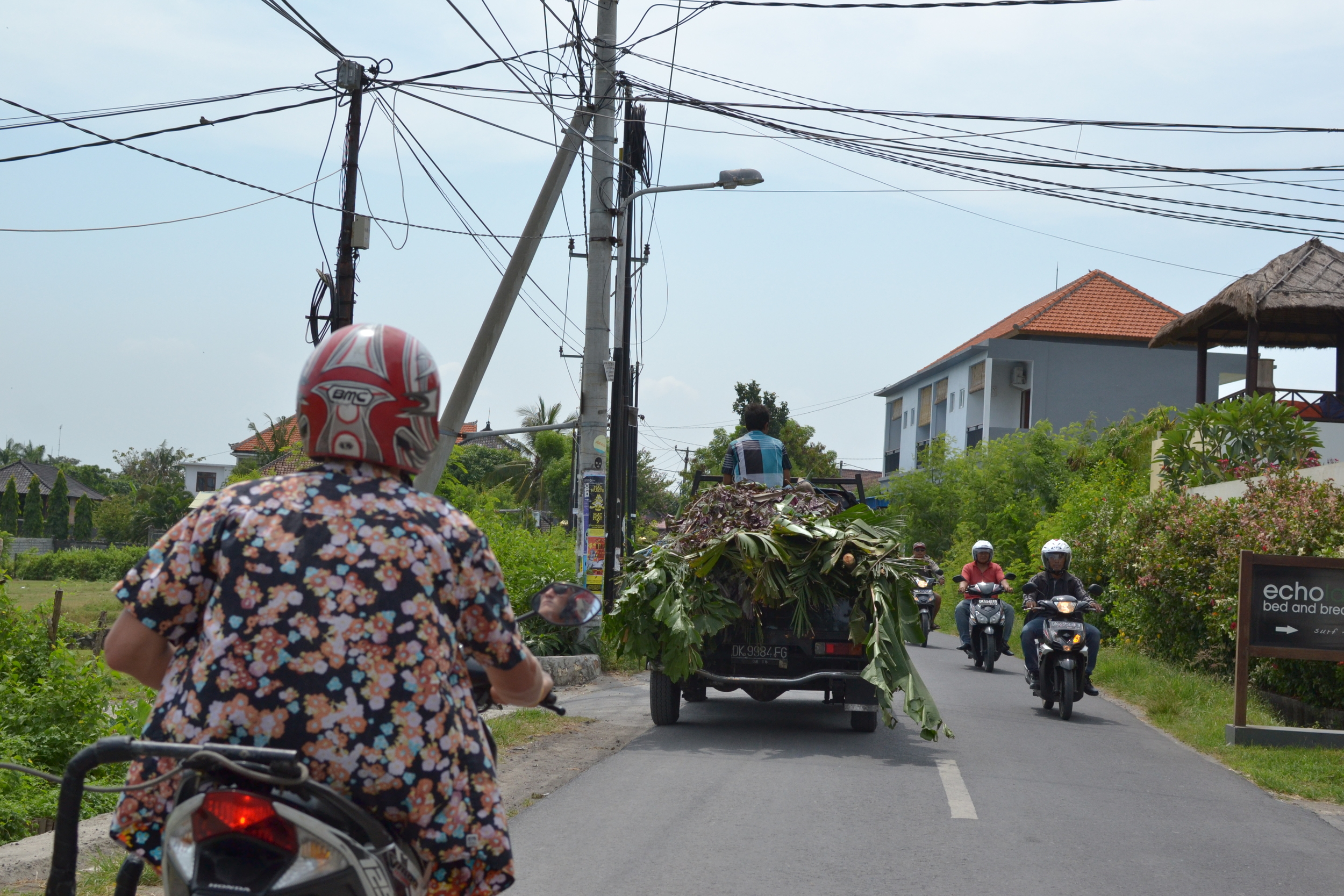 Cruising the streets of Canggu, trying to remember to drive on the left side, not right.