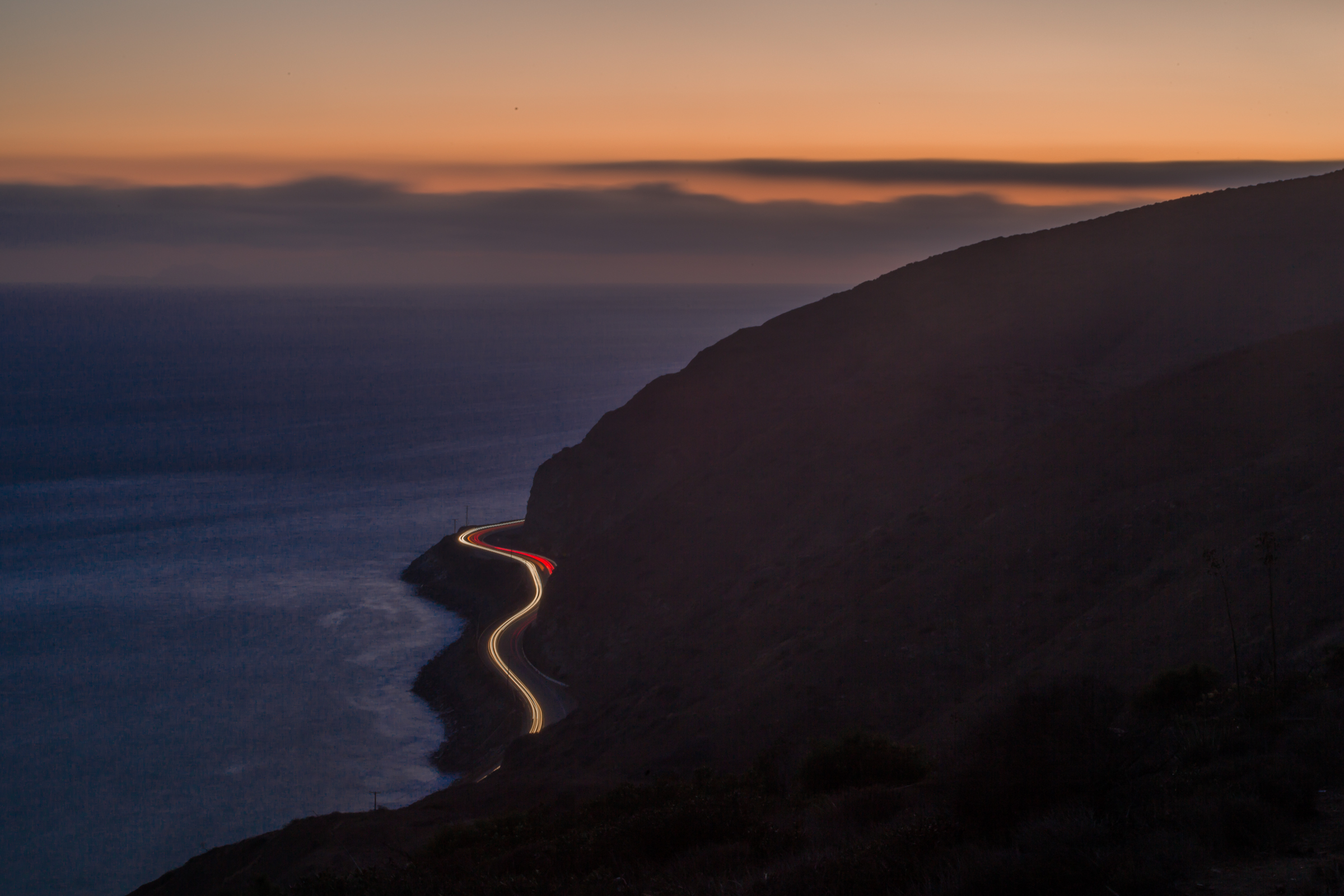 Sunset traffic on the Pacific Coast Highway