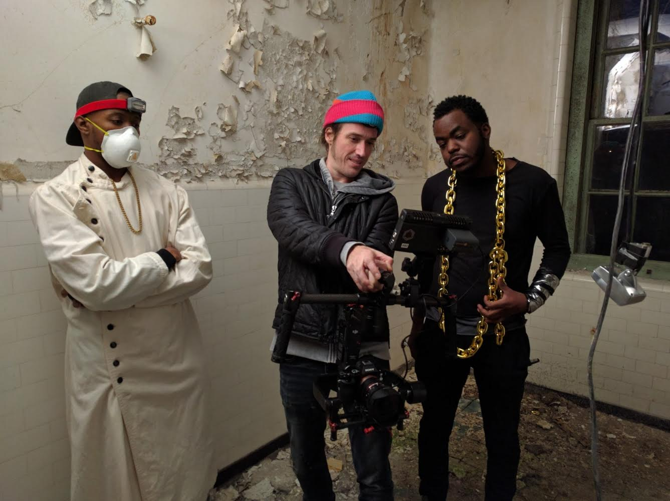 reviewing a few of the  Sacrifice  shots on set. left to right: Thank Aaron, director chris morgan, and Marco Pavé