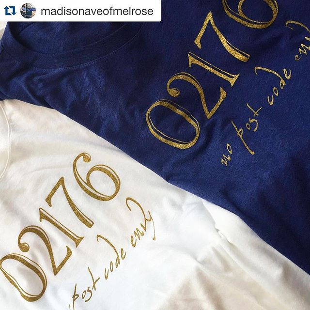 Regram :: Not only do we love supporting local businesses like @MadisonAveOfMelrose, but we especially love these Exclusive 02176 Ts. #MadisonAveOfMelrose #MelroseMarketplace #Melrose #SilkScreenPrinting #02176