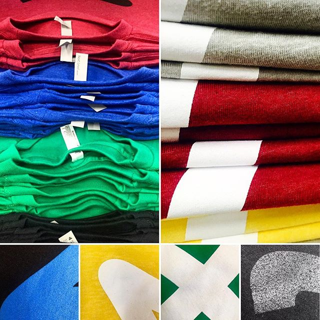 POTD :: Today was all about Bold Colors and Monotone Prints @nextlevel.apparel @americanapparelusa #POTD #NextLevelApparel #AmericanApparel #BrightColors #SilkScreenPrinting