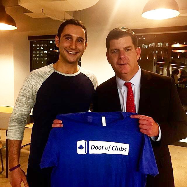 Regram :: It's great to see Mayor Walsh showing his support for Silk Screen client, Door of Clubs. @doorofclubs #WeWork #BostonStartup #TechSwag #SilkScreenPrinting