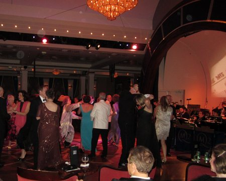 Me on the left in my fancy dress dancing in the Queen's Room aboard the Queen Mary 2 with table mate Bruce (because of his generous nature and that of his wife, Liz).