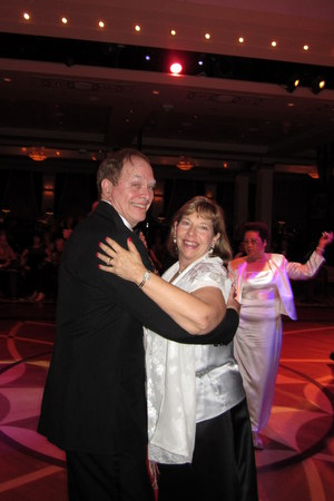 Bruce and Liz cutting a rug in the Queen's Room on the Queen Mary 2.