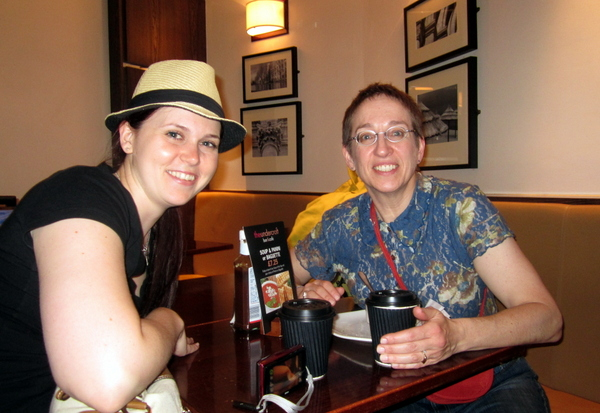 Nicole and me eating our one meal in England (at St. Pancras station) before getting on the EuroStar train to Paris.