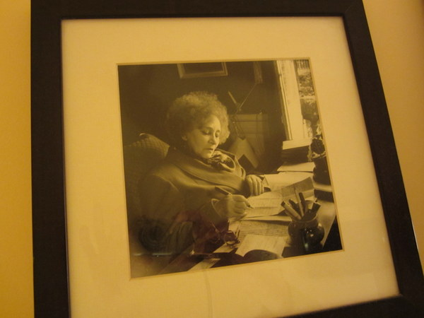 One of the photos adorning the walls of my room at the  Hotel Quartier Latin . I believe this shows Collette writing in bed, but I was not able to confirm this with the hoteliers. Anyone?