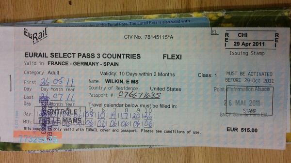 My EurRail Pass from Spring 2011 all filled in.
