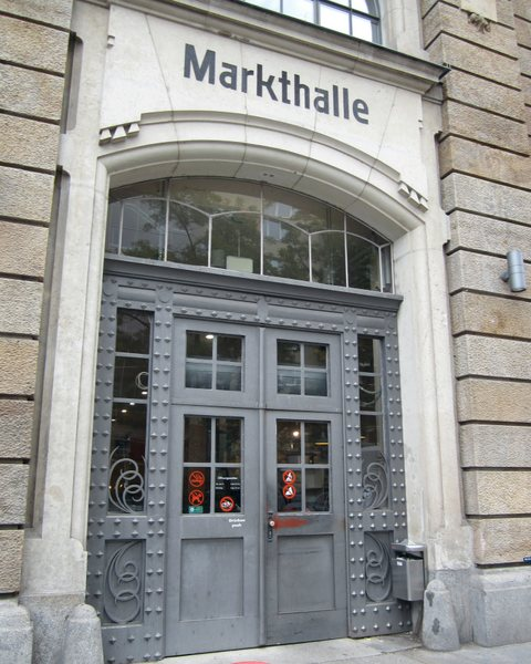 The entrance to the Markthall or grocery in Neustadt, Germany.