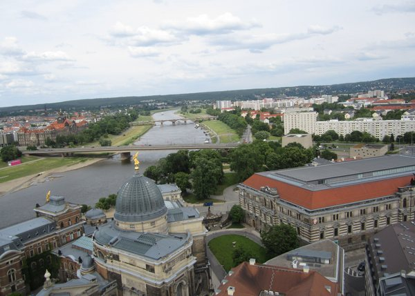 View from the top of the Frauenkirche looking south along the River Elbe with both very old and very modern architecture. Dresden, German, May 2011.