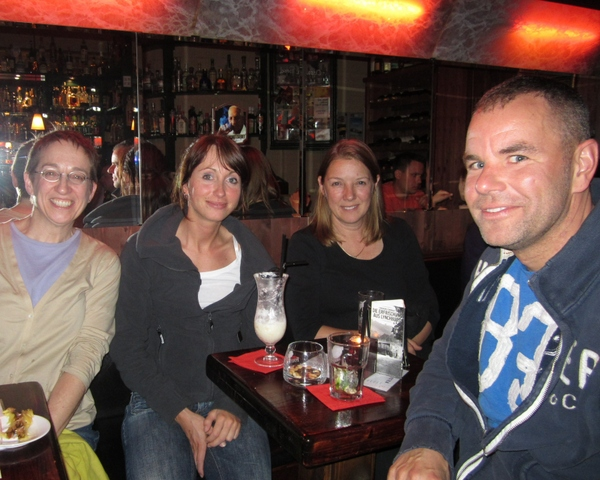 Hanging out at a popular watering hole with old and new friends in Neustadt, Dresden, Germany, May 2011. Thanks to Dave Larsen for the photo.
