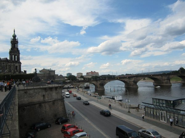 """Looking west along the Elbe River in Altstadt from """"the Balcony of Europe"""" where Bruhlsche Garten is located. Dresden, German, May 2011"""