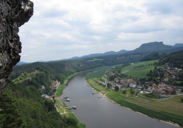 Breathtaking views from the cliffs above Rathen, Germany, looking south down into the Elbe River Valley. May 2011.