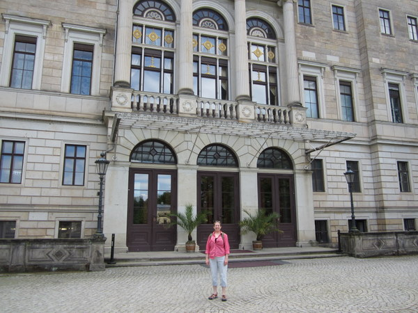 """The main entrance to one of the palaces along the Elbe and facing the river. Many of these former royal residences and """"pleasure palaces"""" have been converted into cafes/museums/theaters with lovely and extensive gardens."""