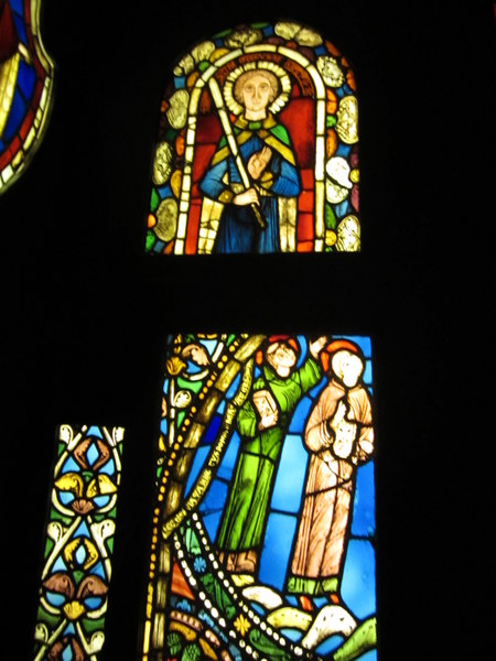 Stain glass windows originally from St. Denis circa 1140-1144 and commissioned by Abbott Sugar. Musée de Cluny / Musée national du Moyen Âge, Paris, France.