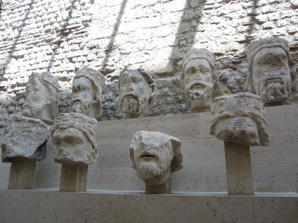 Heads of the kings of Judah -- sculptures of them anyway. During the French Revolution they were mutilated and buried because the rebels thought they represented the Kings of France. Musée de Cluny / Musée national du Moyen Âge, Paris, France.