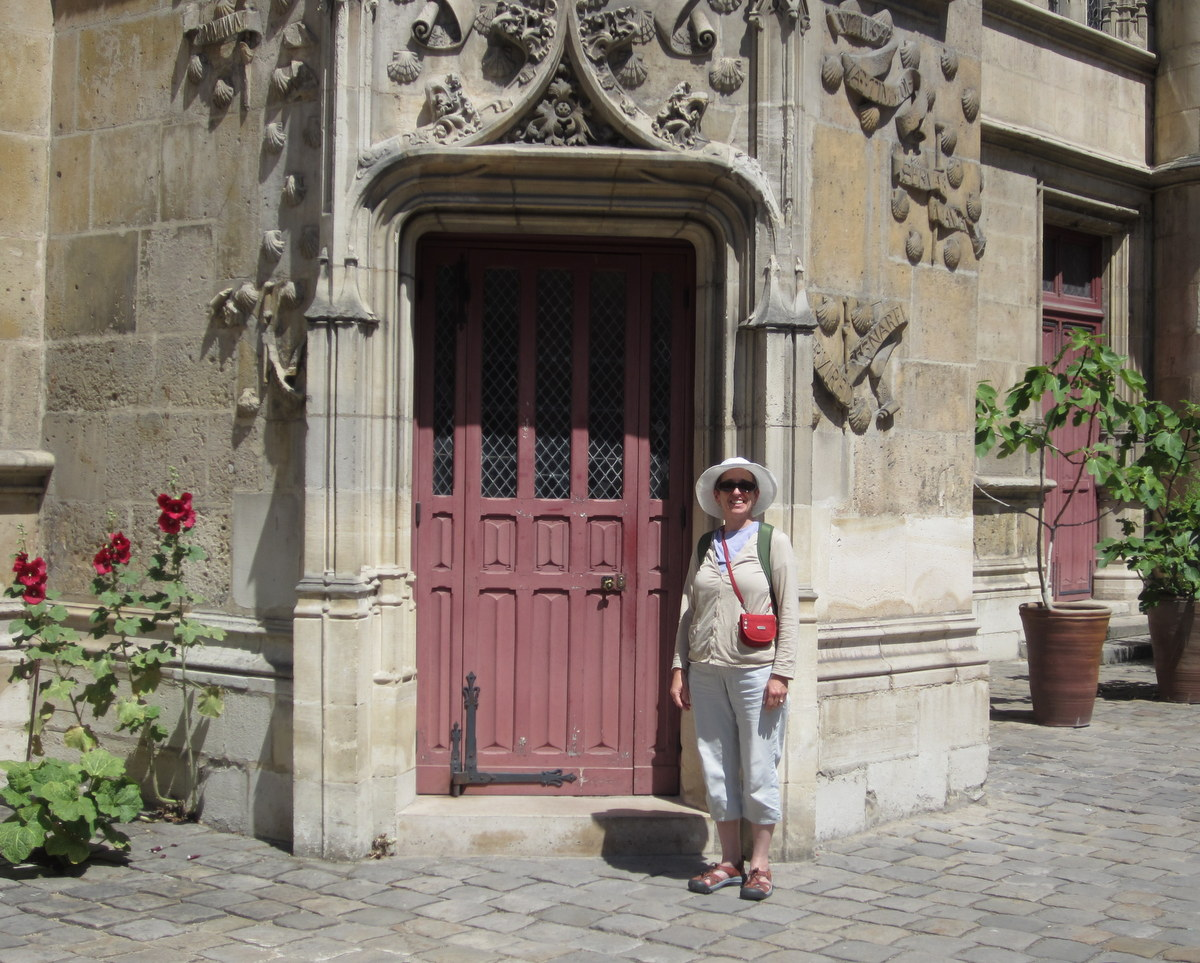 Standing in front of the door to the tower of the Cluny museum, which according to Wikipedia was used by  Charles Messier  to make observations of the night sky, perhaps in aid of finishing the important Messier catalog. Musée de Cluny / Musée national du Moyen Âge, Paris, France.