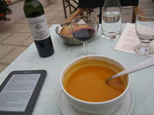 This picture was taken in Poitiers at the Hotel Le Grande, but it illustrates how I ate dinner alongside Julie Child via my kindle e-reader. Poitiers, France June 2011.