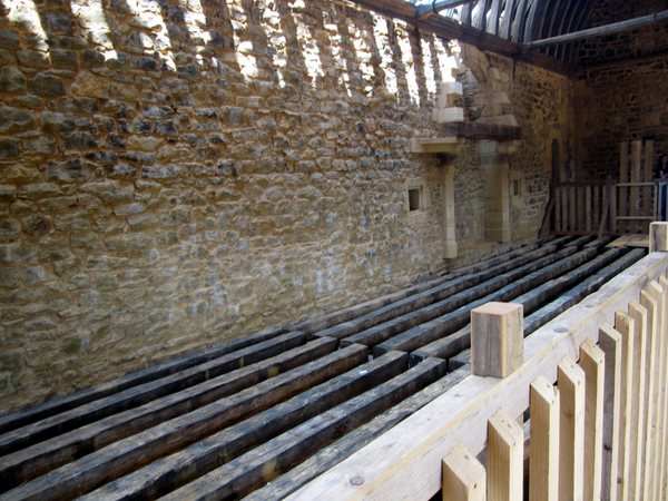 The joists in place for the floor of the lord's solar or private chambers.